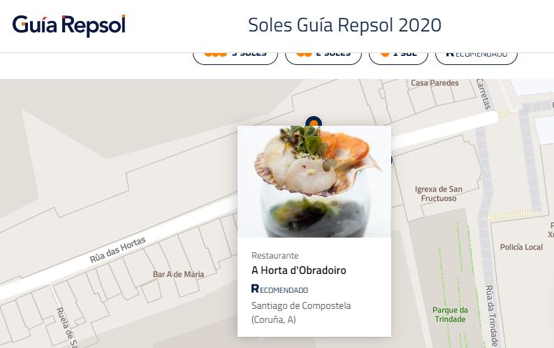 A Horta do Obradoiro, restaurante recomendado na Guía Repsol 2020